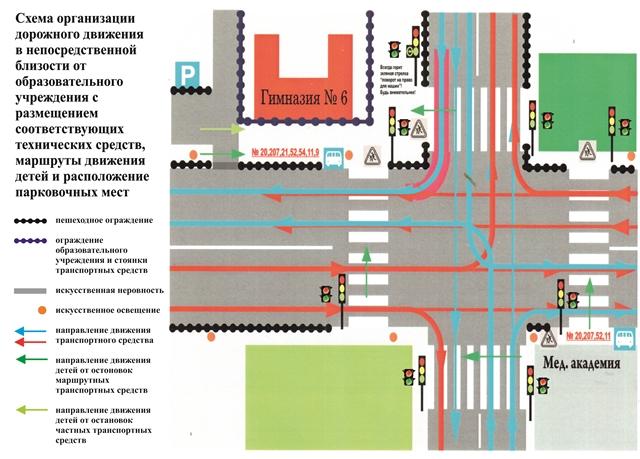 Схемы организации дорожного движения в непосредственной близости от образовательного учреждения